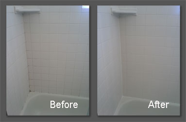 Two pictures. The one on the left is shower tile before being cleaned. The one on the right is after the shower tile has been cleaned.