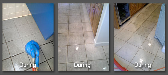 3 Images showing the contrast of clean and dirty tiles and grout as parts are cleaned.